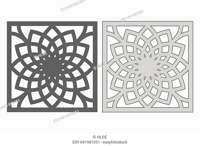 Template for cutting. Geometric flower pattern. Laser cut. Ratio 1:1. Vector illustration