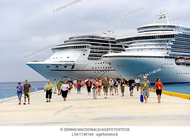 Passengers disembarking Caribbean Cruise Ship in Puerta Maya and Cozumel Mexico