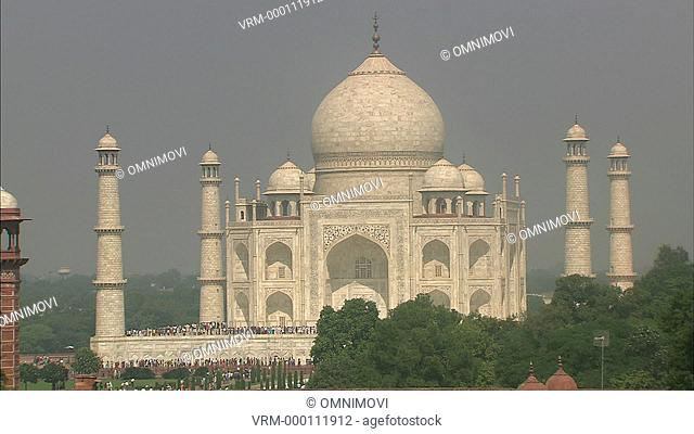 The Taj Mahal with trees in foreground