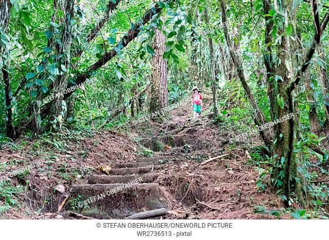 Costa Rica, Alajuela, San Carlos, Little boy in Arenal Volcano National Park hiking
