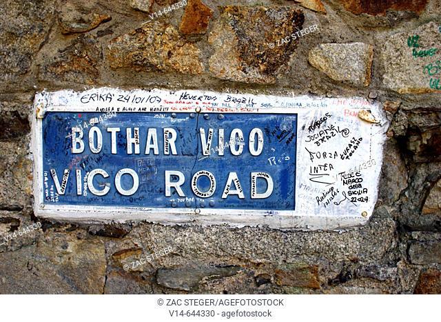 Ireland. County Dublin. Killiney. Vico Road. U2 Graffiti in front of Bono's house