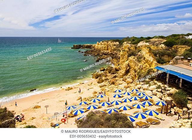 View of the beautiful coastline near Albufeira in the Algarve, Portugal