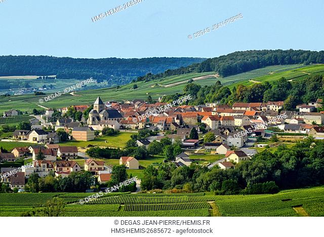France, Marne, Fleury la Riviere, vineyards of Champagne wih a village in the background