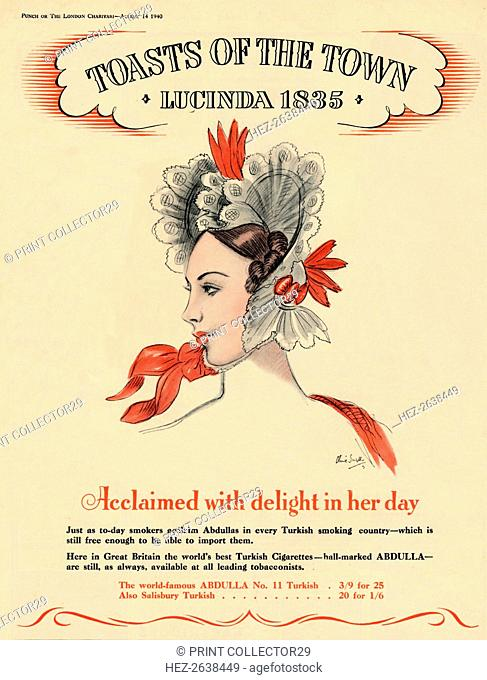 'Acclaimed with delight in her day, Toasts of the Town - Lucinda 1835, 1940. Artist: Unknown