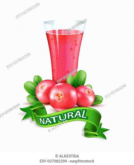 Vector glass cup with juice of cranberries