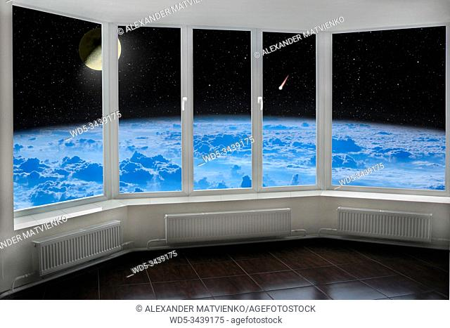 Room window with view to space above Earth's atmosphere Moon comet and starry cosmos. Cozy room with cosmic panorama from window