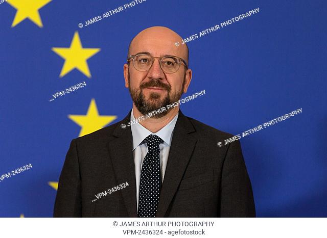 European Council President Charles Michel pictured during a celebration on the occasion of the 10th anniversary of the Lisbon Treaty at the European...