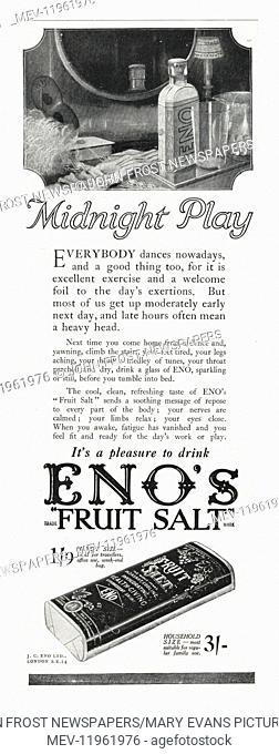 1922 UK Magazine Eno's Fruit Salt Advert Advert