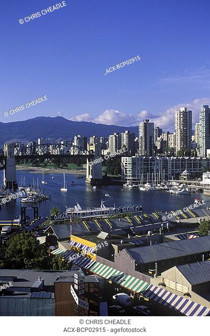 View across False Creek to downtown from Granville bridge, Vancouver, British Columbia, Canada