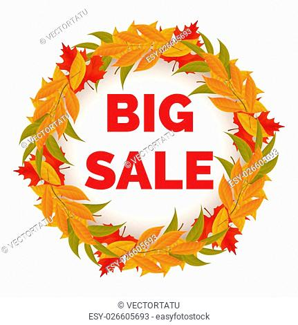 Autumn sale banner with colorful leaves wreath vector