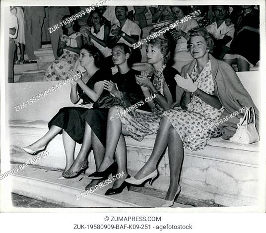 Sep. 09, 1958 - American And Greek Ladies - Watch Greek Drama in Athens.. They could be competitors in a beauty contest but actually they are L-R: Mrs