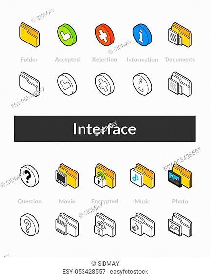 Set of isometric icons in otline style, colored and black versions, vector symbols - Interface collection