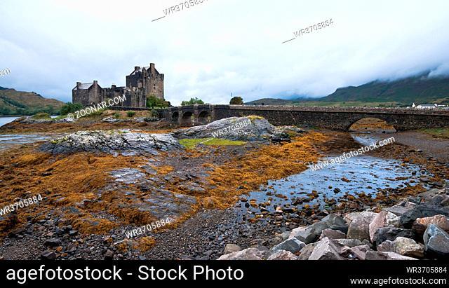 Famous Eilean Donan castle on Donan island in highlands of Scotland