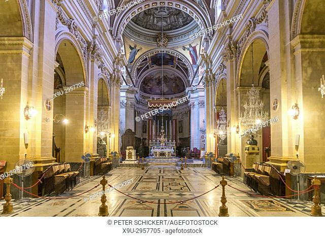 Cathedral of the Assumption interior, Cittadella or Citadel, Victoria, Gozo, Malta