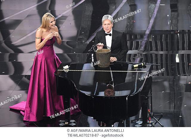 Claudio Baglioni, Michelle Hunziker during Sanremo Italian Music Festival, Sanremo, Italy 07/02/2018