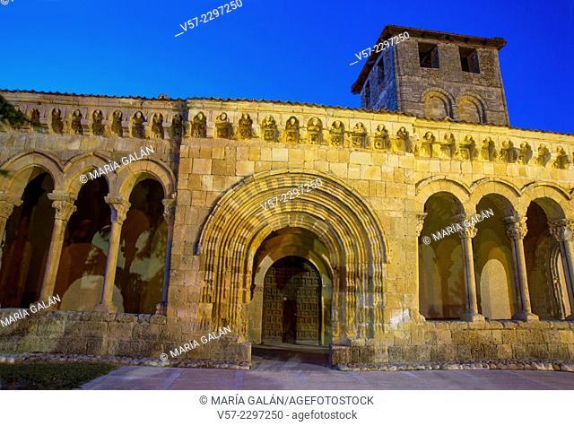 Facade of Romanesque church, night view. Sotosalbos, Segovia province, Castilla Leon, Spain