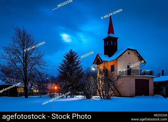 Fire station in Benice village, Turiec region, Slovakia