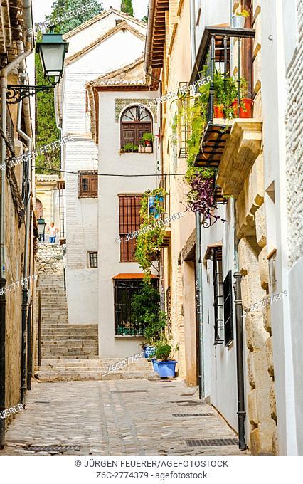 Calle Zafra, lane of the Albayzín in Granada, Andalusia, Spain