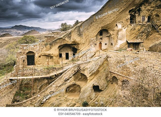 Sagarejo Municipality, Kakheti Region, Georgia. Ancient Rock-hewn Georgian Orthodox David Gareja Monastery Complex. Monastery Is Located Is Southeast Of Tbilisi