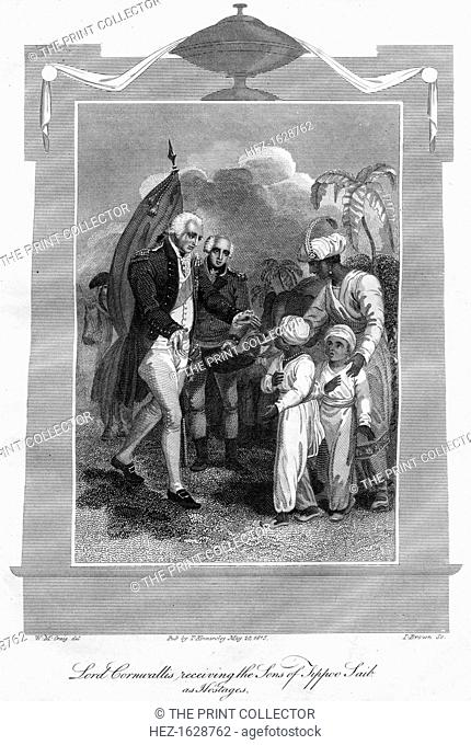Lord Cornwallis (1738-1805) receiving the sons of Tippoo Saib as hostages, 1816. Charles Cornwallis, 1st Marquess Cornwallis was a British military commander...