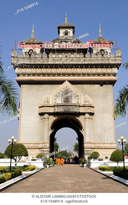 Patuxai Arch of Triumph, Vientiane, Laos, Southeast Asia