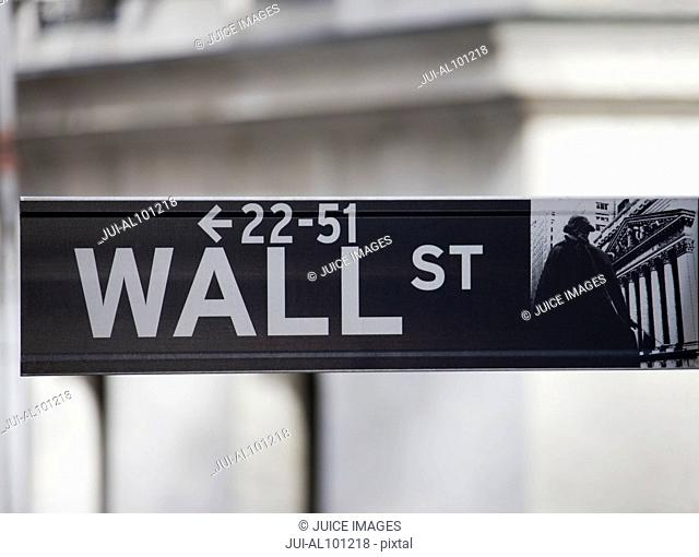 Wall Street sign, Manhattan, New York City, New York, United States