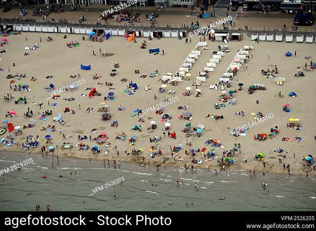 an aerial view on Westende taken from a helicopter, flying along the Belgian coast, Saturday 08 August 2020. BELGA PHOTO ERIC LALMAND