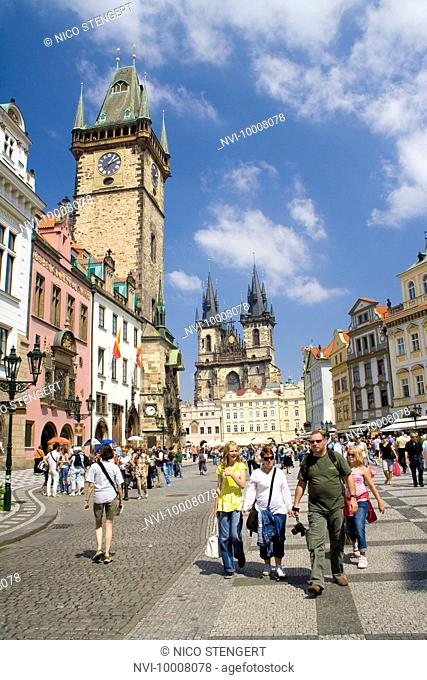 City Hall tower and Tyn Church, historic city centre of Prague, Czech Republic, Europe