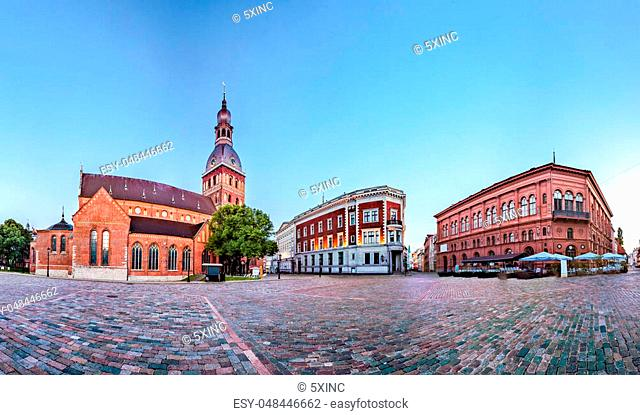 Skyline view of Riga old town Dome Square During Dawn time