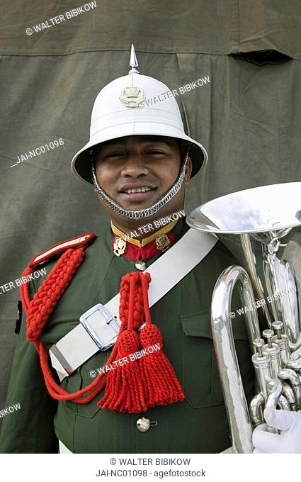 New Caledonia, Grande Terre Island, Noumea, Army Day Festival, Army of Tonga Marching Band member