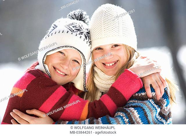 Girls, caps, winter-clothing, cheerfully, embrace, portrait, winters, leisure time, vacation, winter-vacation, vacation, winter-vacation, children, two