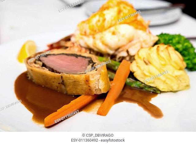 Beef Wellington Lobster Tail and Potatoes