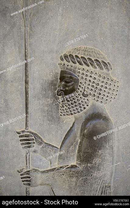 Iran, Unesco World Heritage Site, Persepolis, Apadana eastern stairs, Procession of the guards