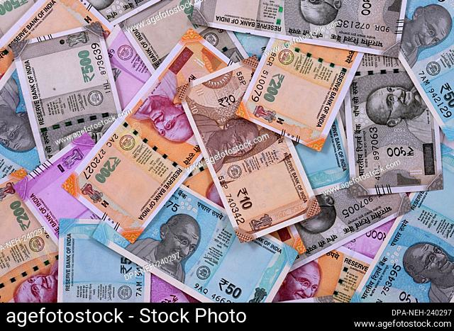 New Indian currency of 2000, 500, 200, 50 and 10 rupee notes background