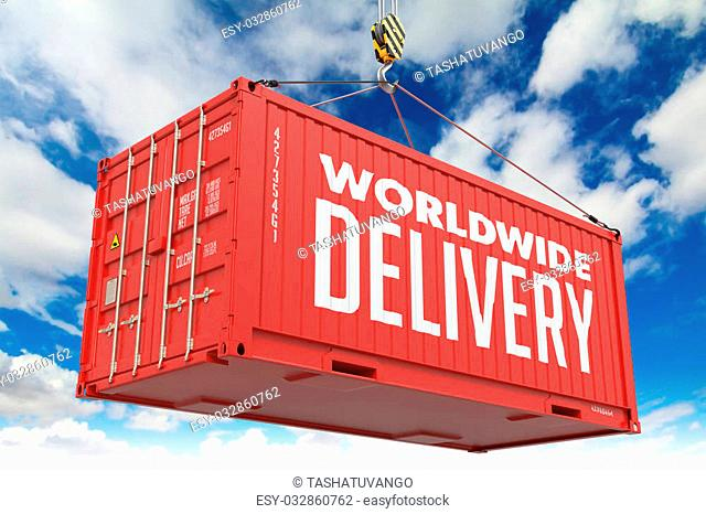 World Wide Delivery - Red Hanging Cargo Container on Sky Background