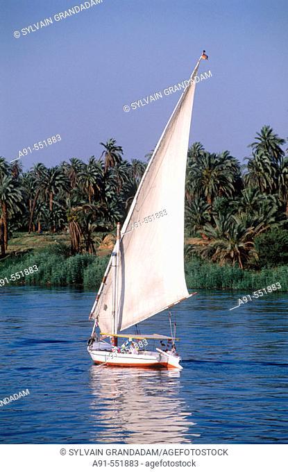 Felucca on Nile River. Egypt