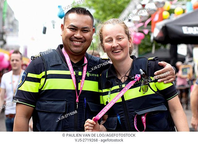 Tilburg, Netherlands, Police officers are having fun during annual gay event in Tilburg