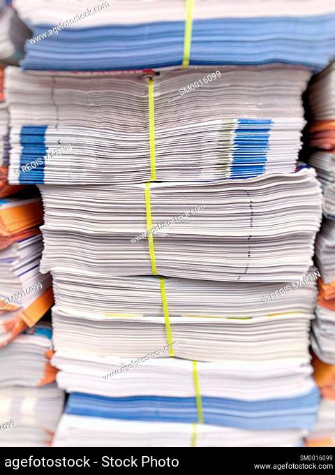 Stacks of newspaper ready to be delivered