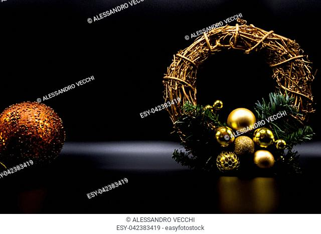 Cool holidays wallpaper background of Christmas decorations and balls or baubles on black background