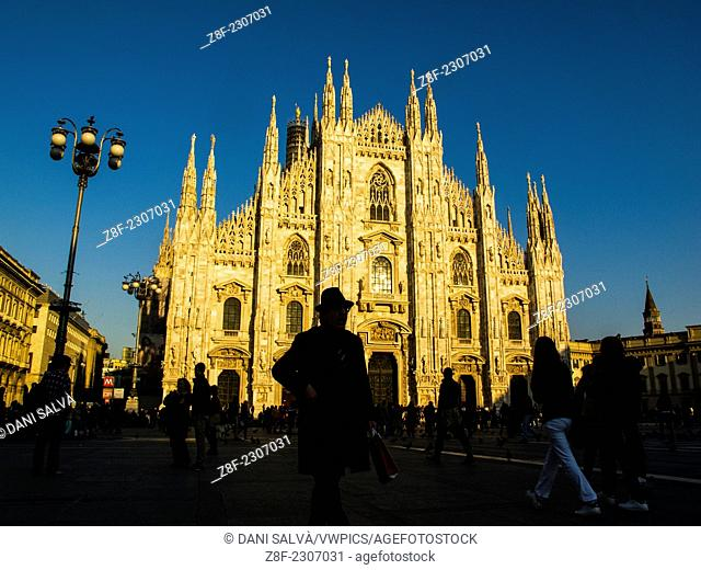 People outside the Piazza del Duomo in Milan