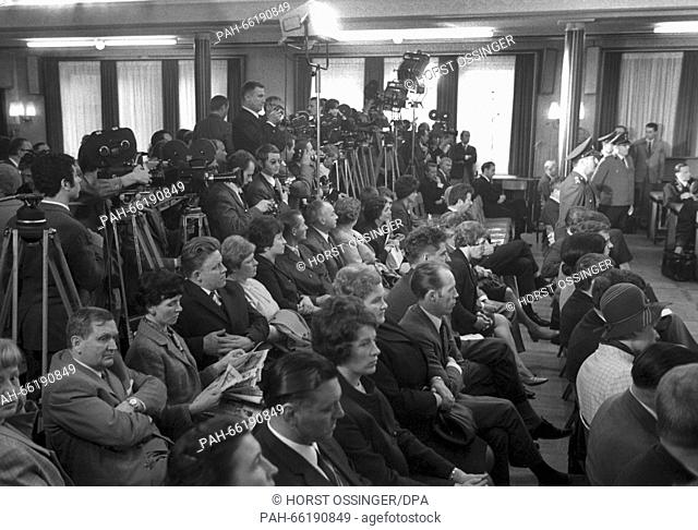 View of the courtroom. The trial began on 27 May 1968 in Alsdorf near Aachen, Germany, and ended without a verdict on 18 December 1970