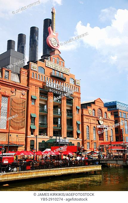 The Hard Rock Cafe and other retail locations are housed in a former power plant near Baltimore's Inner Harbor