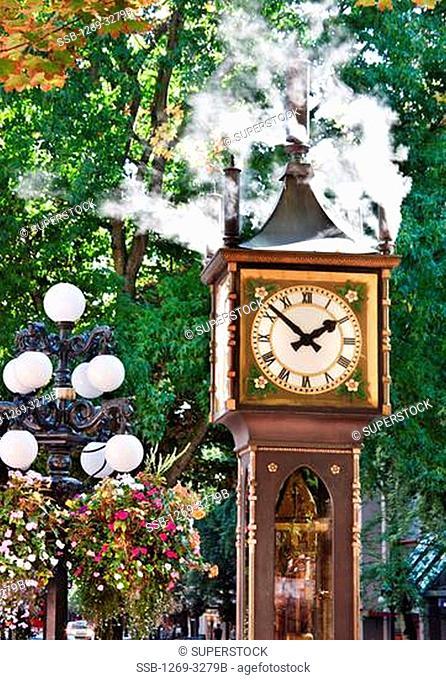 Steam clock in a city, Gastown Steam Clock, Gastown, Vancouver, British Columbia, Canada