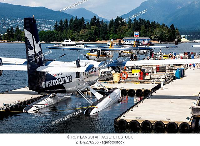 Seaplanes docked at the floatplane terminal in Vancouver, Canada