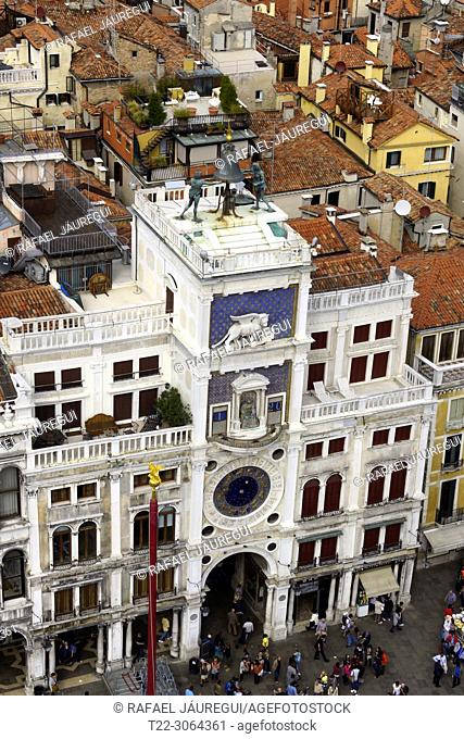 Venice (Italy). Torre dell'Orologio from the Campanile of St. Mark's Square in the city of Venice