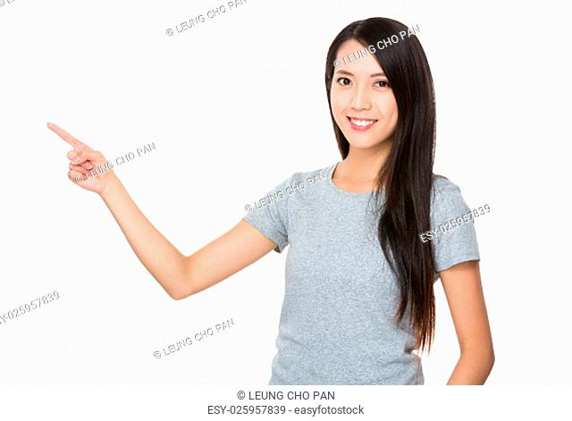 Young Woman showing finger up