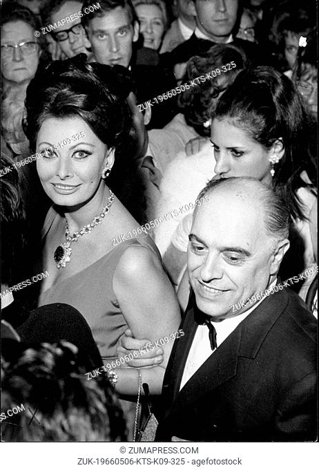 May 6, 1966 - Cannes, France - Italian Actress SOPHIA LOREN and her husband, producer CARLO PONTI at the Film Festival in Cannes