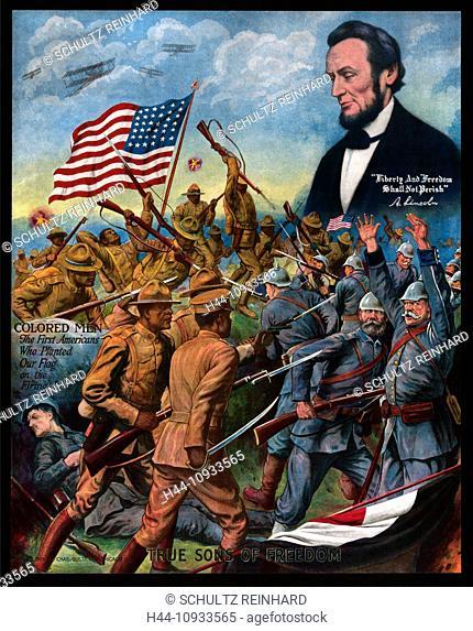 First World War, WWI, World War I, world war, war, Europe, propaganda, poster, USA, American, propaganda poster, Afroamerican, soldiers, military, army, fight