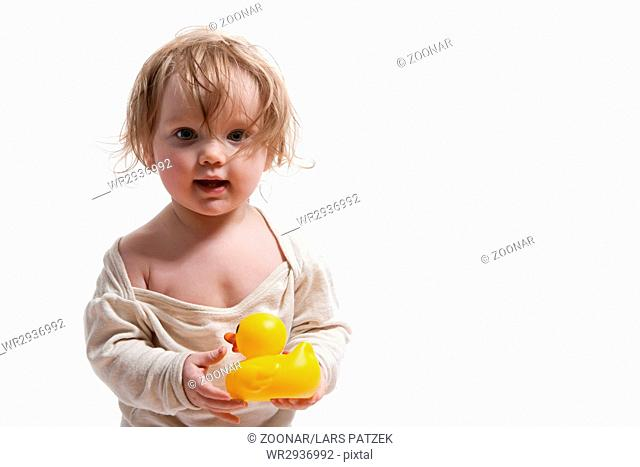 4efc255a2 With rubber duck romper suit Stock Photos and Images