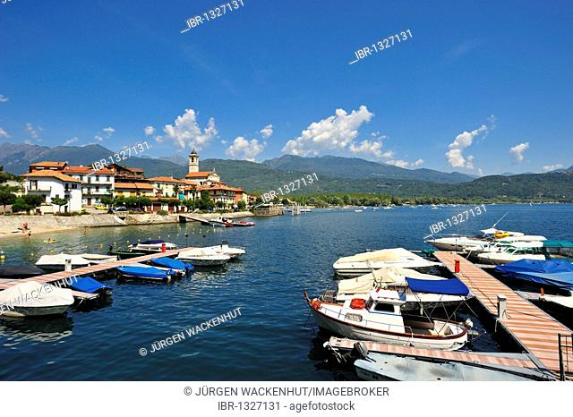 Townscape with port and beach, Feriolo, Lake Maggiore, Piedmont, Italy, Europe